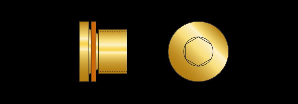 Tappi cilindrici con testa in ottone